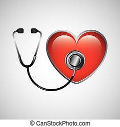 cuore, stetoscopio, icona