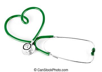 cuore, stetoscopio, isolato, bianco, forma