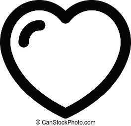 cuore, stile, amore, contorno, icona, capretto