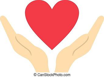 cuore, stile, appartamento, tenere mani, icona