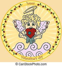 cuore, stile, childrens, scribbles, seduta, colorare, adesivo, valentines, tema, cupido, giorno, presa a terra, illustrazioni, rotondo, nuvola