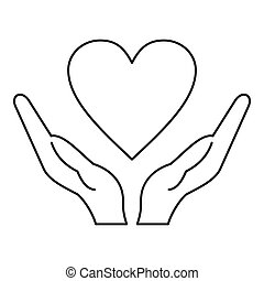 cuore, stile, contorno, tenere mani, icona