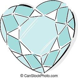 cuore, stile, diamante, modellato, illustrazione, moda