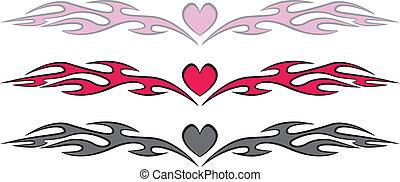cuore, stile, fiamme, tatuaggio