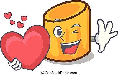 cuore, stile, mascotte, cartone animato, rigatoni