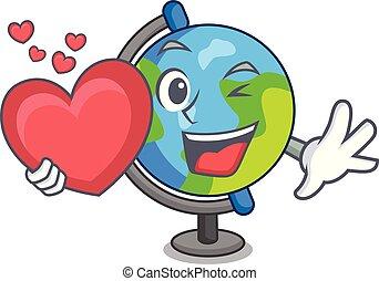 cuore, stile, mascotte, globo, cartone animato