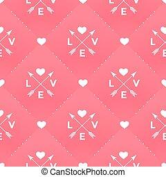 cuore, stile, modello freccia, seamless, valentina, day., vettore, fondo, vendemmia, amore, bianco rosso, illustration.