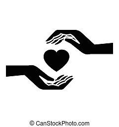 cuore, stile, semplice, tenere mani, icona