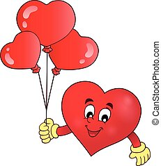 cuore, stilizzato, tema, 1, presa a terra, palloni