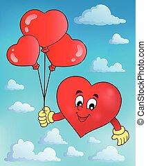 cuore, stilizzato, tema, 2, presa a terra, palloni