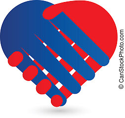 cuore, stretta di mano, logotipo