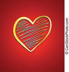 cuore, su, rosso, fondo., valentina, o, matrimonio, scheda, disegno