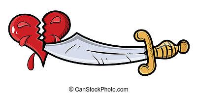 cuore, taglio, amore, spada, tatuaggio