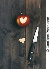 cuore, taglio, mela, esso