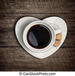 cuore, tazza caffè, cima, forma, vista, piattino