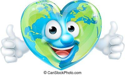 cuore, terra, carattere, cartone animato, mascotte