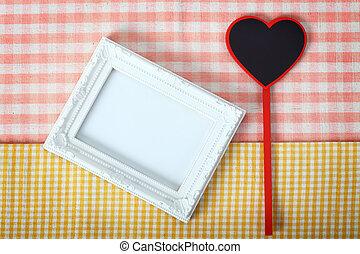 cuore, tessuto, legno, cornice foto, ritaglio, segno, percorso, bianco, sopra
