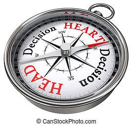cuore, testa, vs, dilemma, decisione