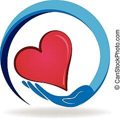 cuore, titolo portafoglio mano, logotipo