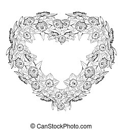 cuore, tromboni, mano, disegnato, floreale, monocromatico, fiori