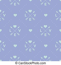 cuore, turchese, parola, illustration., freccia, modello, seamless, fondo., vettore, viola, amore