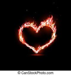 cuore, umano, rosso, fiamme