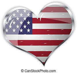 cuore, unito, bandiera, forma, stato, america