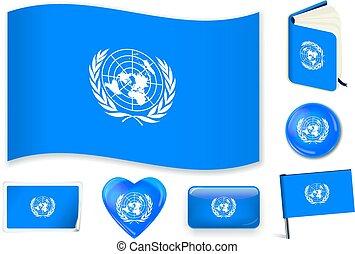 cuore, unito, perno, onda, libro, bandiera, nazioni, sticker., bottone, cerchio