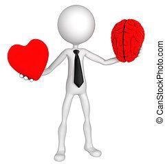 cuore, uomo affari, difficile, equilibrio, choice., mente