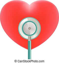 cuore, uso, illustration., realistico, medico, isolato, topic, fondo., vettore, stetoscopio, bianco rosso