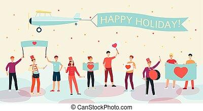 cuore, vacanza, persone, immagine, affissi, presa a terra, orizzontale, music., bandiera, gioco, felice
