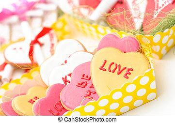 cuore, valentina, biscotto, isolato, pan zenzero