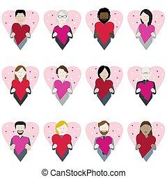 cuore, valentina, icone