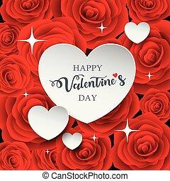 cuore, valentine, carta, bianco, giorno, felice