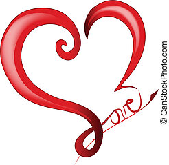 cuore, valentines, baluginante, giorno, logotipo