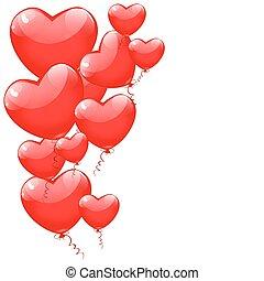 cuore, valentines, isolato, fondo., forma, vector., bianco, palloni, giorno, rosso, felice