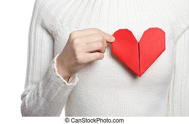cuore, valentines, presa a terra, origami, ragazza, bandiera, giorno