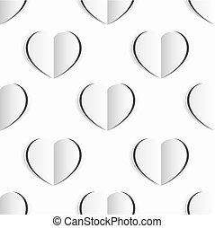 cuore, valentines, seamless, carta, fondo, bianco