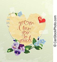 cuore, vecchio, dimenticare, testo, carta, amore, intorno, card., -, calligraphic, lei, felice, much., mamma, non, fiori, giorno, me, fatto, madre, così, margherita
