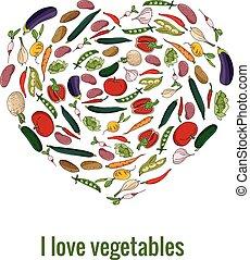 cuore, verdura, fatto, forma, fresco