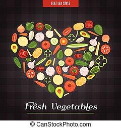 cuore, verdura, modellato, manifesto, fresco