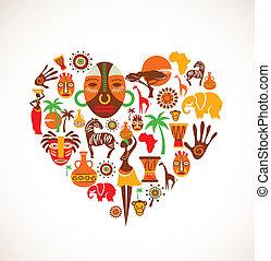 cuore, vettore, africa, icone