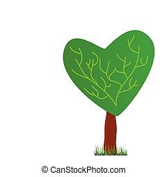 cuore, vettore, albero, illustrazione