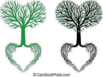 cuore, vettore, albero, vita, albero