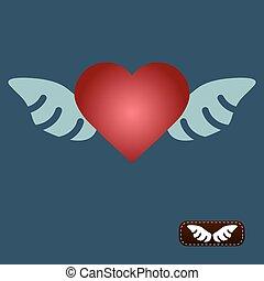 cuore, vettore, ali, rosso