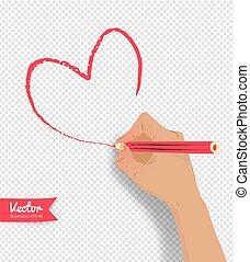 cuore, vettore, disegno, illustrazione, mano