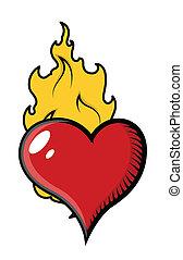 cuore, vettore, fiamme