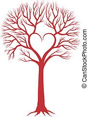 cuore, vettore, fondo, albero