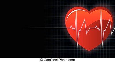 cuore, vettore, fondo, battito cardiaco