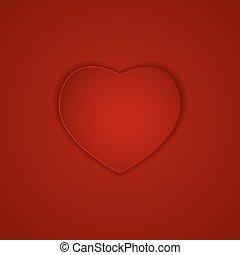 cuore, vettore, fondo, illustrazione, rosso